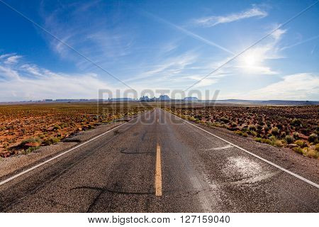 View of the Road near Monument Valley in Utah