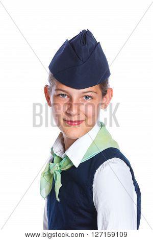 Portrait of Charming Girl Stewardess Dressed In Blue Uniform On White Background