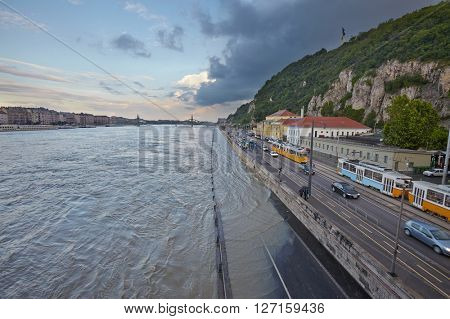 Flooded street in Budapest Danube bank