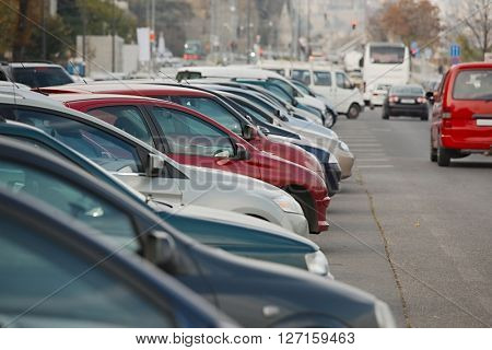 Cars parking in a row