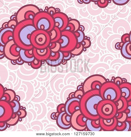 Vector illustration of seamless with colorful clouds on a pink background with white lace.
