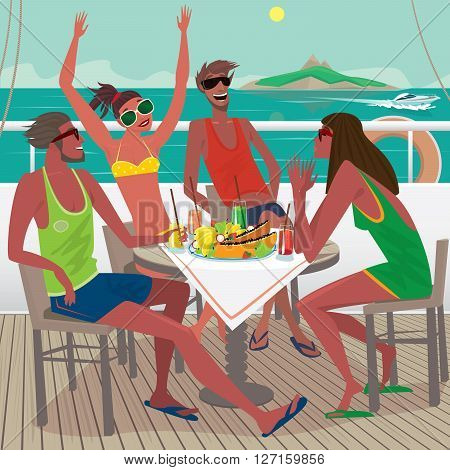 Four friends sitting at a table on the ship deck talking and eating fresh tropical fruits the distance you can see the island - Friendship or Leisure concept