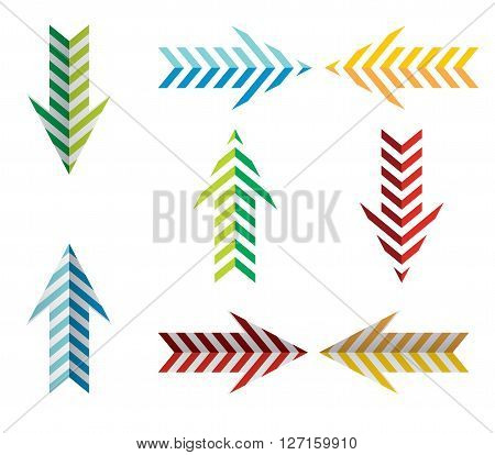 Arrows icon set with color stripes on white background