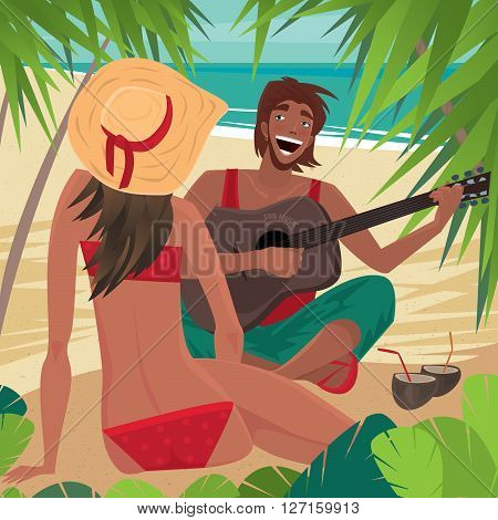 Young couple sitting on beach. Guy plays guitar and sings and girl in a hat sitting in front of him. Front view of the man and the view from the back of the woman