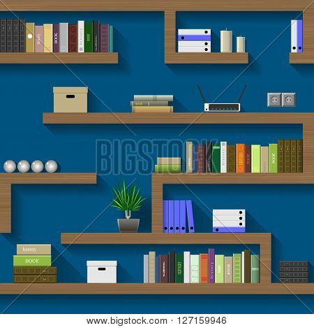 The maze of bookshelves in an interior room on the blue wall