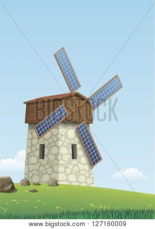 Windmill blades and wings of solar panels on the green hills