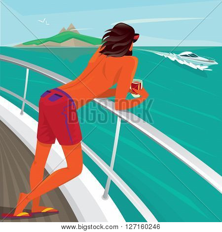 Tanned man standing on yacht deck leaning on the railing holding a cocktail and watch the boats sailing past - Luxury holidays or Paradise pleasure concept