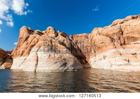 View of the Glen Canyon on the Lake Powell from boat Utah