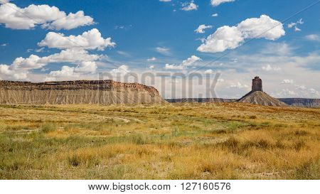 View of Chimney Rock butte near Cortez