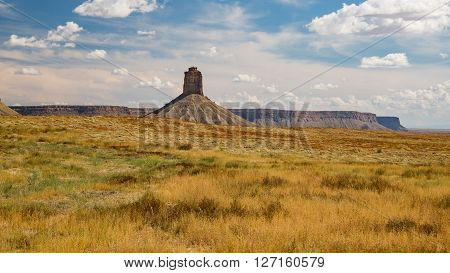 View of the Chimney Rock butte near Cortez