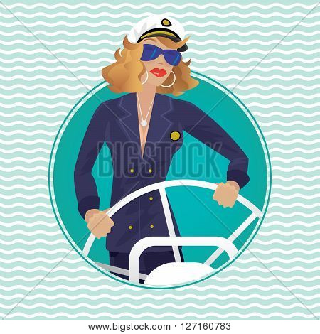 Isolated image in round frame with wave background contains serious female sea captain rotates ship steering wheel - Profession or Sailor concept