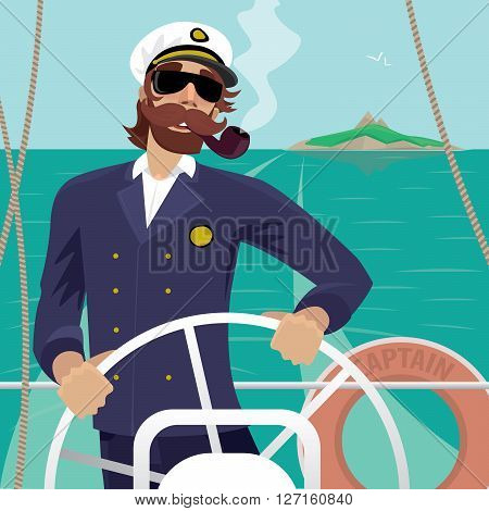 Happy sea captain looks funny with a mustache and a pipe standing on the deck of the ship and rotates ship steering wheel. Sunny weather - Profession or Sailor concept