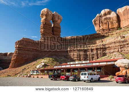 BLUFF UTAH USA - AUGUST 27: Views of the stone formation called Twin Rocks and the Twin Rocks Cafe in Bluff on August 27 2015. Bluff is a small Village in southern Utah.