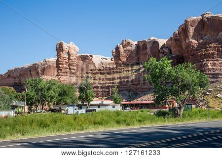 Bluff, Utah, Usa - August 27: Views Of The Stone Formation Called Twin Rocks And The Twin Rocks Cafe