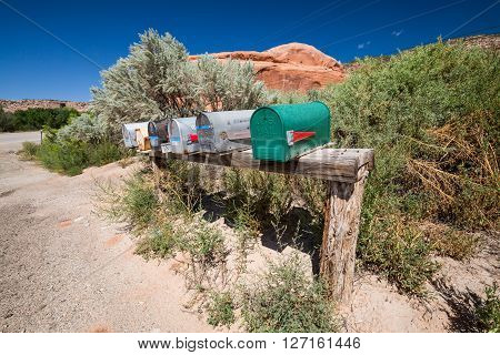 Moab, Utah - August 28: Outdoor Views Of Mail Boxes On A Wooden Socket Near Moab On August 28, 2015.