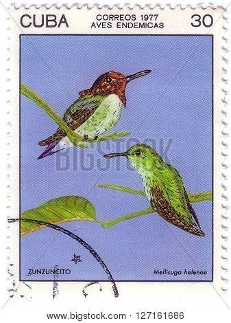 Cuba - Circa 1977: A Stamp Shows Image Of Mellisugu Helenoe The Series