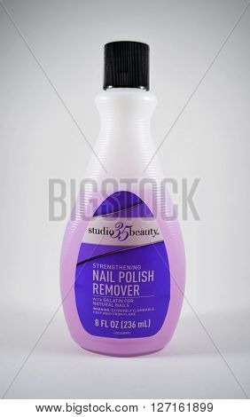 APRIL 29 2016: Purple nail polish remover (acetone) from Duane Reade in New York, store brand (Studio 35 Beauty) - isolated