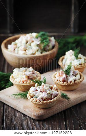 Traditional Russian Salad Olivier Served In Tartlet