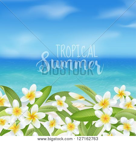 Tropical Background. Tropical Flower Plumeria. Sea View Background. Vector Background. Beach Banner.