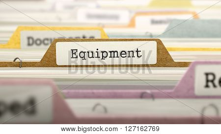 Equipment Concept on Folder Register in Multicolor Card Index. Closeup View. Selective Focus. 3D Render.