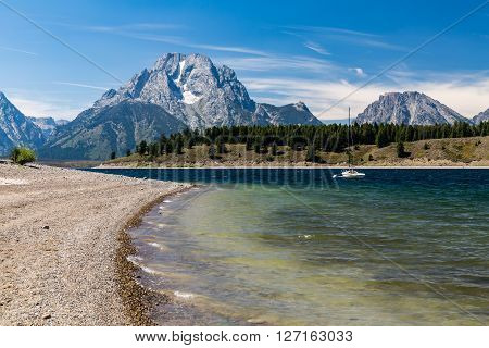 Views of the Jenny and Jackson Lakes in the Grand Teton National Park Wyoming