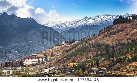 landscape of mountain and valley country Thimphu city in Bhutan
