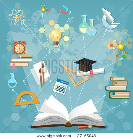 Time to education open book back to school school subjects power of knowledge