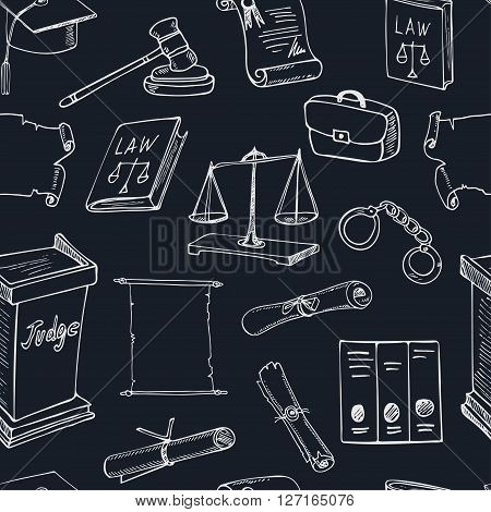 Hand drawn law seamless pattern with Holy Bible, scales, handcuffs, hammer and elements of judges clothing. Isolated vector illustration for design, decoration, packages product and interior decoration