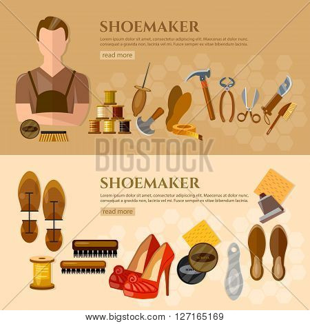 Shoemaker banners shoe repair shoe care professional equipment cobbler