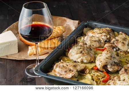 Braised Chicken With Onions And Wine