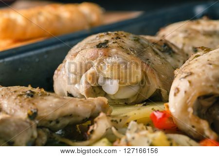 roasted chicken breast rolls with vegetables. Closeup view