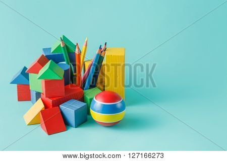 Wooden Building Block And Colored Pencils