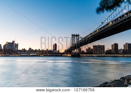 New York - August 22: Views Of The ?manhattan Bridge On  Sunset On August 22, 2015. Its A Famous And