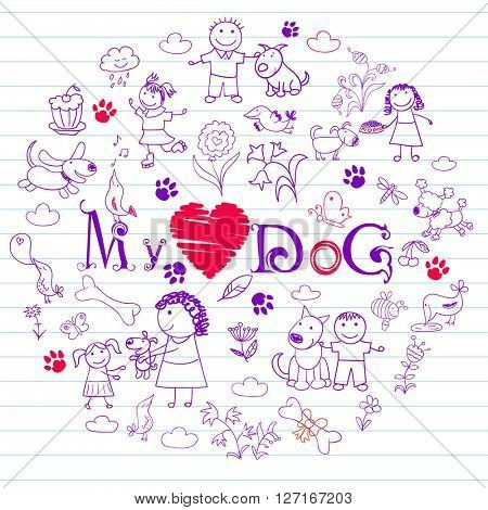 Happy children and dogs. Collection of elements in doodle style. Vector sketch on notebook page