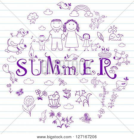 Summertime. Happy family - mom, dad, boy and girl. Collection of elements in doodle style. Vector sketch on notebook page