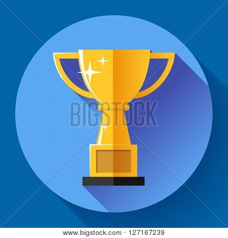 Champions gold cup - victory symbol. Flat style design.