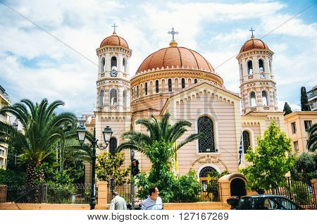 THESSALONIKI, GREECE - MAY 27, 2015: Orthodox Metropolitan Church. Cathedral of St. Gregory Palamas in Thessaloniki.