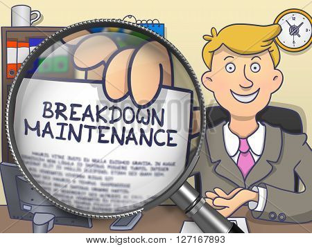 Breakdown Maintenance. Man in Office Workplace Showing through Magnifier Paper with Concept. Multicolor Modern Line Illustration in Doodle Style.