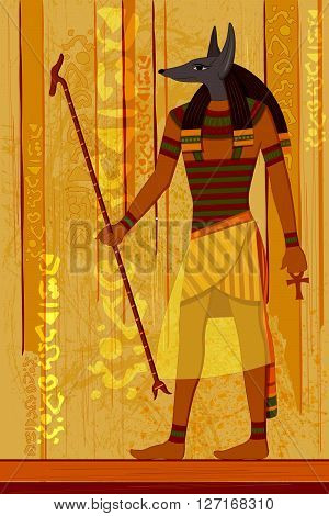 easy to edit vector illustration of antique Egyptian papyrus and hieroglyph background