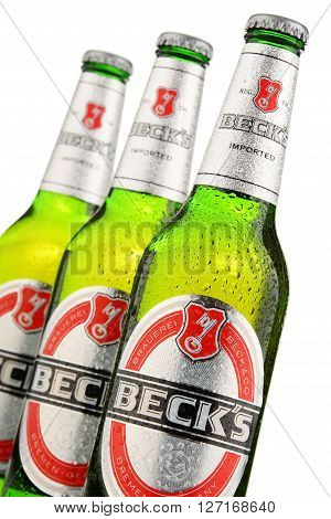 POZNAN POLAND - APRIL 23 2016: Beck's is the world's best selling German beer produced by Beck's Brewery in Bremen Germany and sold in nearly 90 countries.