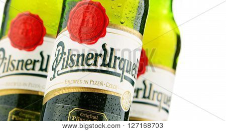 POZNAN POLAND - APRIL 23 2016: Plzensky Prazdroj the first pilsner beer in the world known better by its German name Pilsner Urquell is a prominent brand of the global brewing company SABMiller
