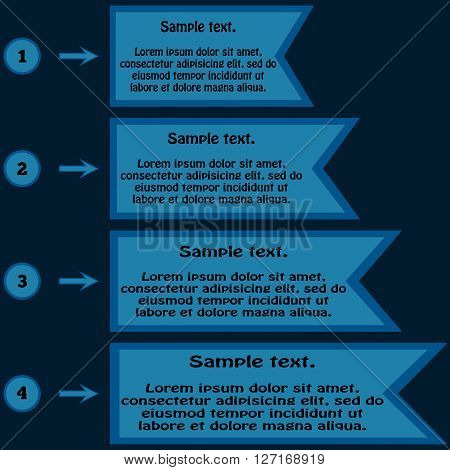 Information in the form of a table. Space for text four vertical points. Blue background. Infographics.