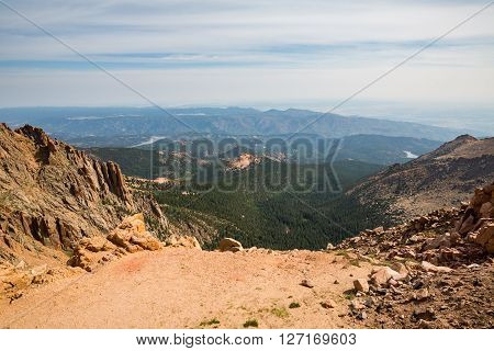 View from top of Pikes Peak Mountain Colorado 2015