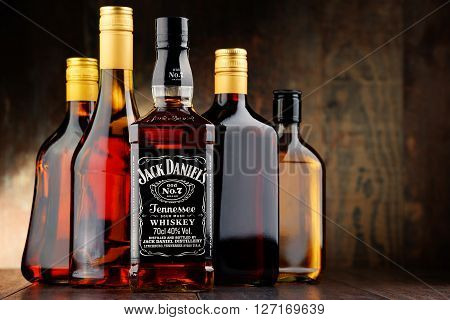 POZNAN POLAND - APRIL 23 2016: Jack Daniel's a brand of the best selling American whiskey in the world produced by the Jack Daniel Distillery and owned by the Brown-Forman Corporation since 1956