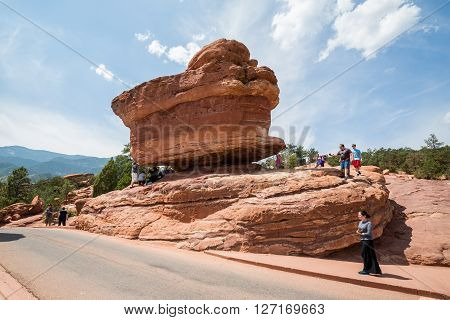 GARDEN OF THE GODS, COLORADO - AUGUST 26, 2015: Outdoor views of the Garden of the Gods Park near Colorado Springs on August 26 2015. Its a popular park recreation rock climbing activities and others.