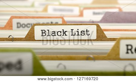 Black List on Business Folder in Multicolor Card Index. Closeup View. Blurred Image. 3D Render.