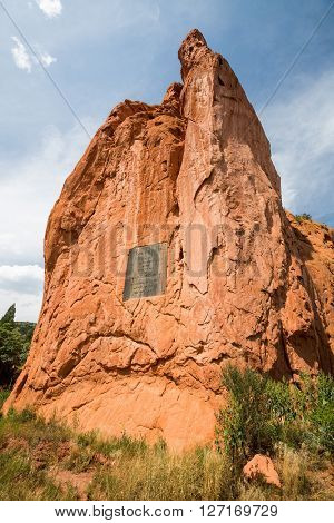GARDEN OF THE GODS COLORADO - AUGUST 26: Outdoor views of the Garden of the Gods Park near Colorado Springs on August 26 2015. Its a popular park recreation rock climbing activities and others.