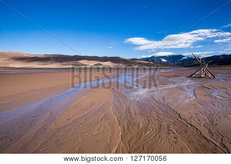 Water structure in sand in Great Sand Dunes NP