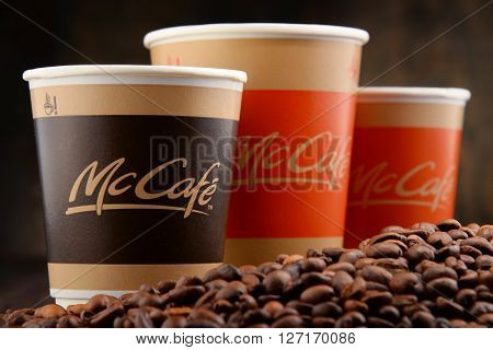 POZNAN, POLAND - APRIL 24, 2016: McCafe is a coffee-house-style food and drink chain, owned by McDonald's.