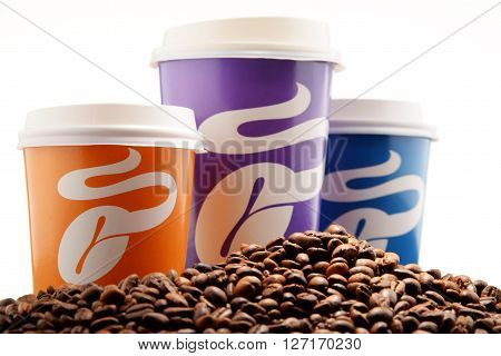 Composition With Tchibo Coffee Cups And Beans